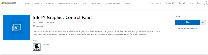 download again the Intel Graphics Control Panel