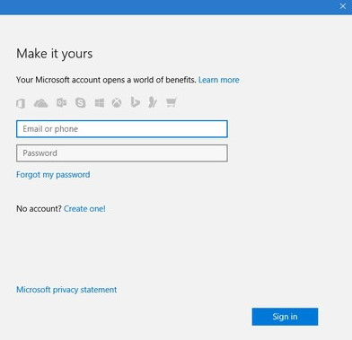 give your OneDrive credentials and sign-in to your account.