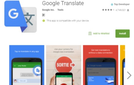 installing Google Translate app on your smartphone