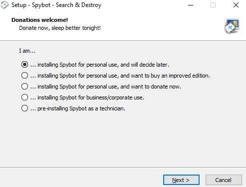 installing Spybot for personal use and will decide later