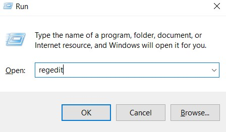 o type regedit in the Windows Search bar.