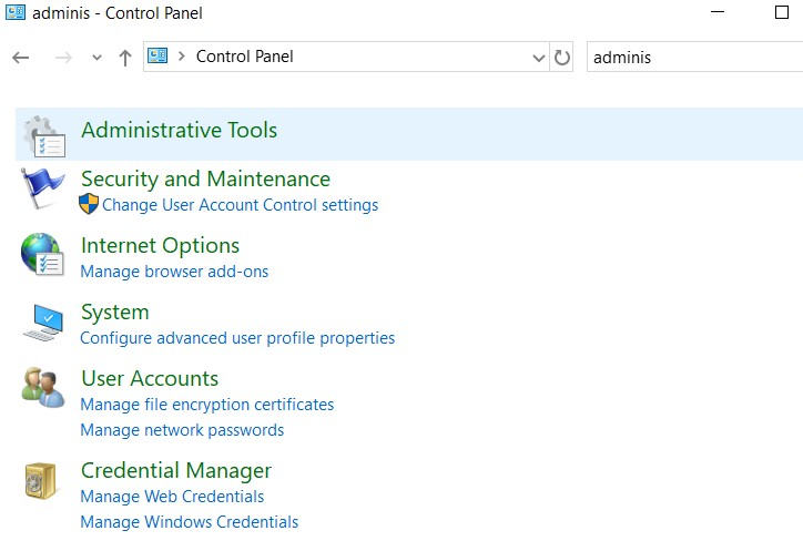 open Administrator Tools