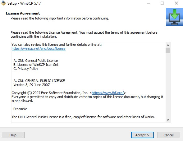 open the WinSCP installer and accept the license agreement