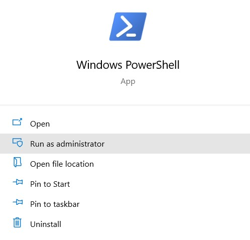 right click on powerhshell icon