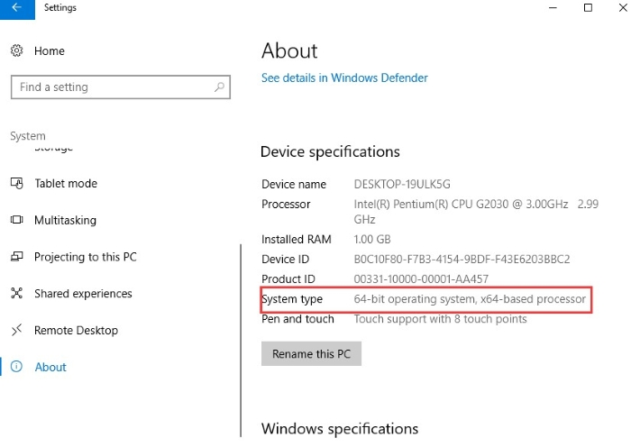 select System Type under Device Specifications1
