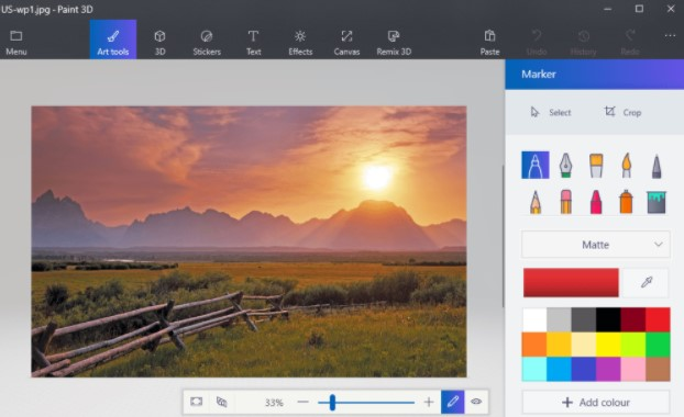 select an image to open in Paint 3D