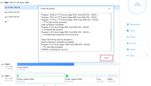the software will start to check your partition file system on your disk