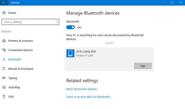 to turn on Bluetooth on Windows 10