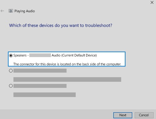 troubleshoot and continue through the troubleshooter.