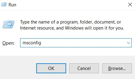 """type """"msconfig"""" and hit the Enter button."""