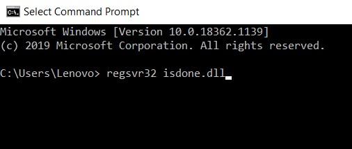 type regsvr32 isdone.dll
