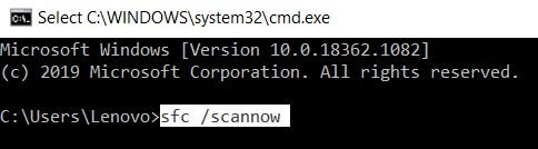 type sfc scannow