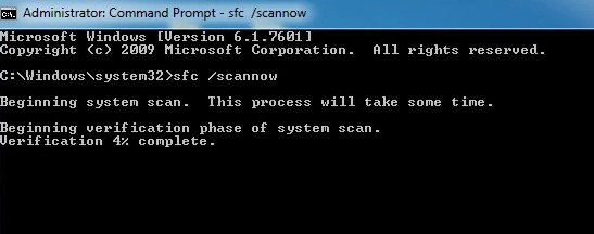type the 'sfc scannow' command and hit Enter
