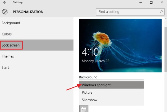 """you are able to choose """"Windows spotlight."""""""