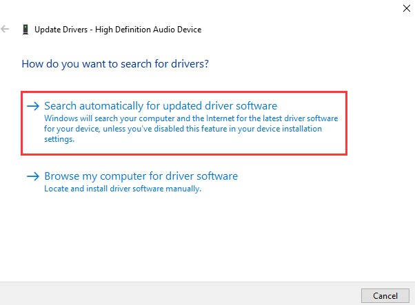you need to choose Update Drive