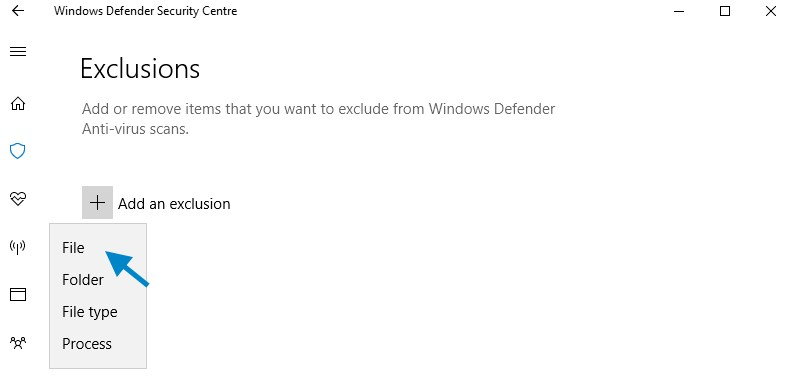 Add Antimalware Service Executable (MsMpEng.exe) to Windows Defender exclusion list.