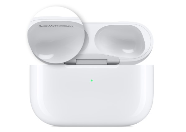 AirPod also has its own serial number
