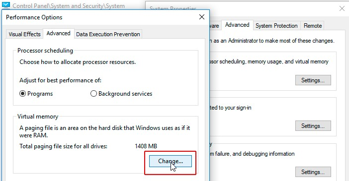 Change in the Virtual memory section