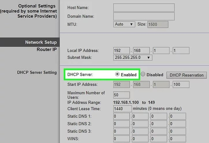 Change the DHCP setting