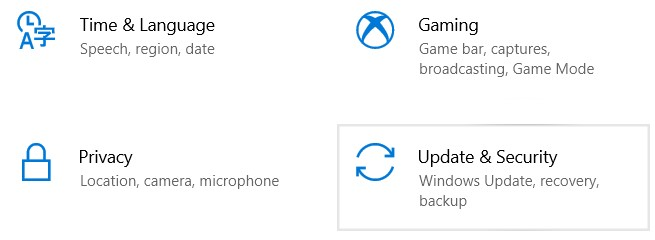 Choose Update & Security in the Windows Settings interface.