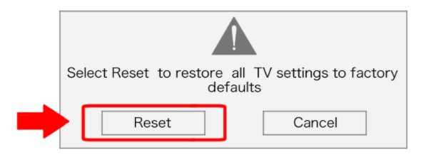 Choose the Reset button and then OK.