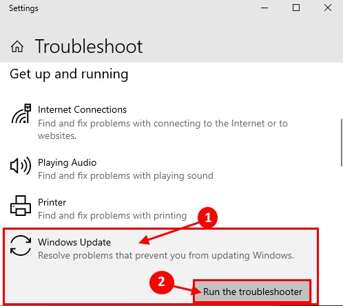 Click Windows Update, then Run the troubleshooter.