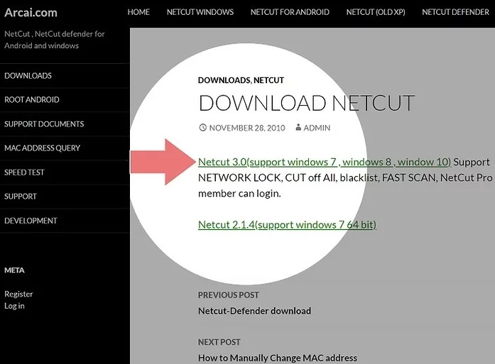 Click the link near the top of the page named Netcut 3.0