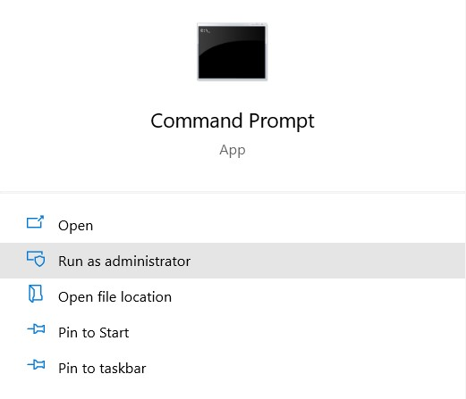 Command Prompt and selecting run as administrator