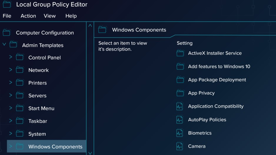 Configuration - Administrative Templates - Windows Components - Windows Defender.