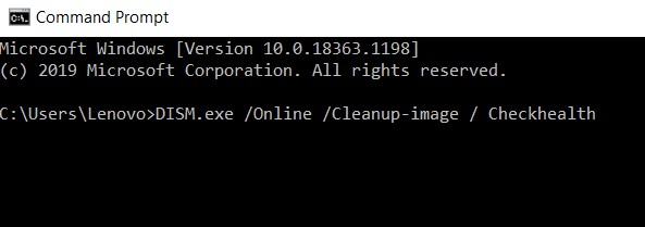 DISM.exe Online Cleanup-image Checkhealth