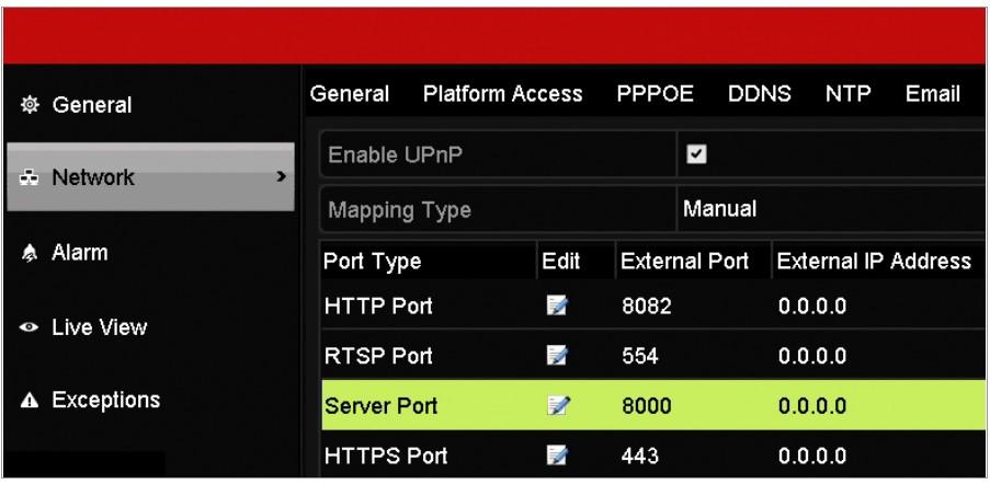 DVR port configuration