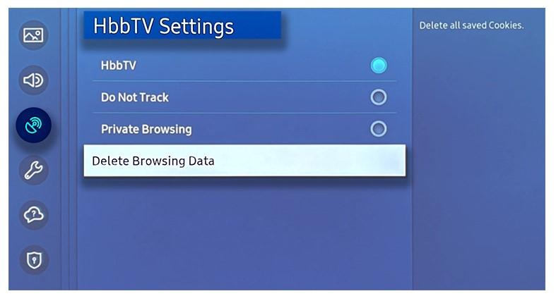 Delete Browsing Data.