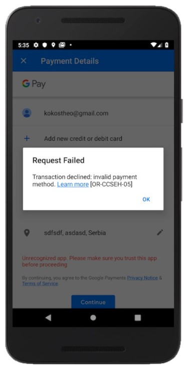 Fix OR-CCSEH-05 Transaction Declined Invalid Payment Method when Purchased an App or Services on Google Play Store