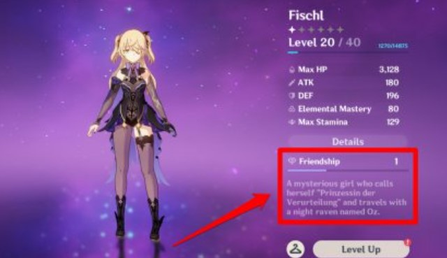 Friendship Level Discovered At The Character Screen