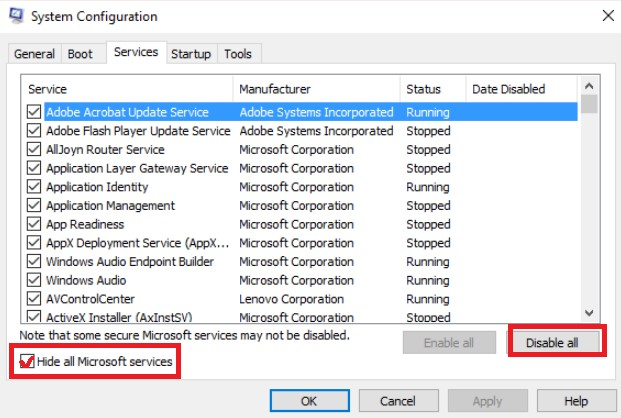Go to the Services tab, tick Hide all Microsoft services, then click Disable all.