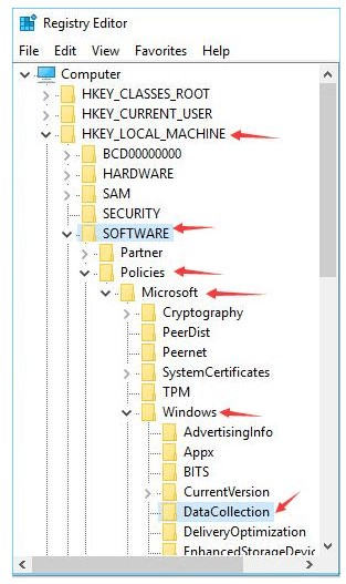 HKEY LOCAL MACHINE - SOFTWARE - Policies - Microsoft - Windows - DataCollection