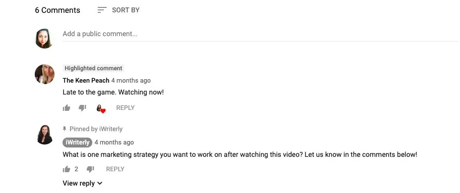 Highlighted Comment on Youtube Comments