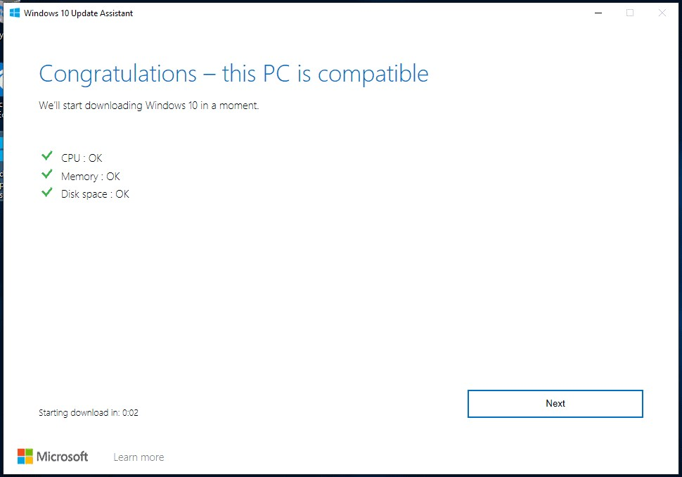 If your PC passes compatibility test, then the update assistant will start downloading the update.