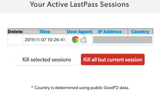 Kill active LastPass sessions