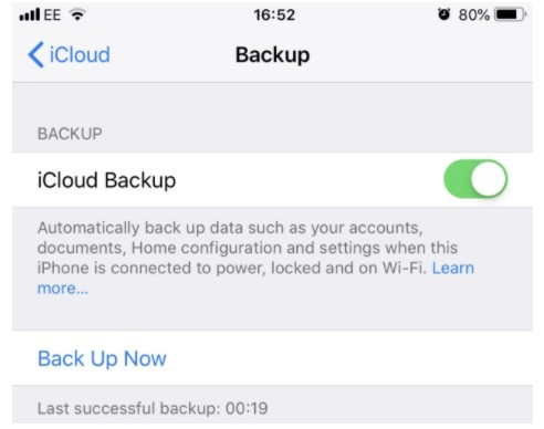 Now, you are able to tap Back up Now to force a backup.