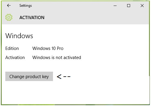 Please click on the Change product key button