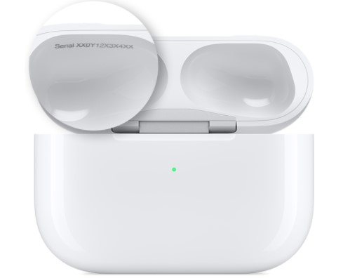 Scan the code discovered on the inner side of your AirPods Pro's charging case