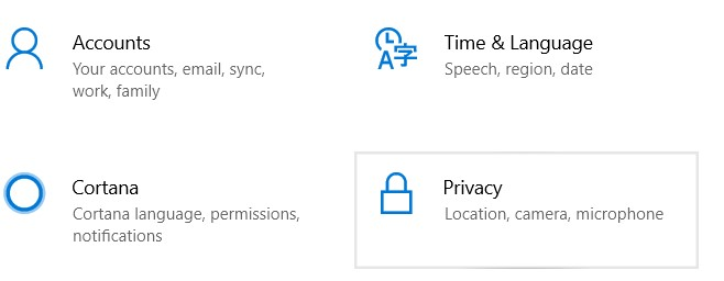 Settings window. Once it is ready, choose Privacy.