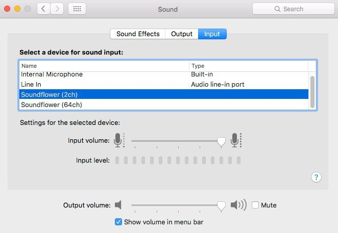 SoundFlower for mac