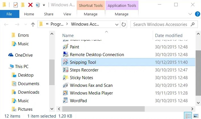 Then, right click on the Snipping Tool shortcut, click Properties.