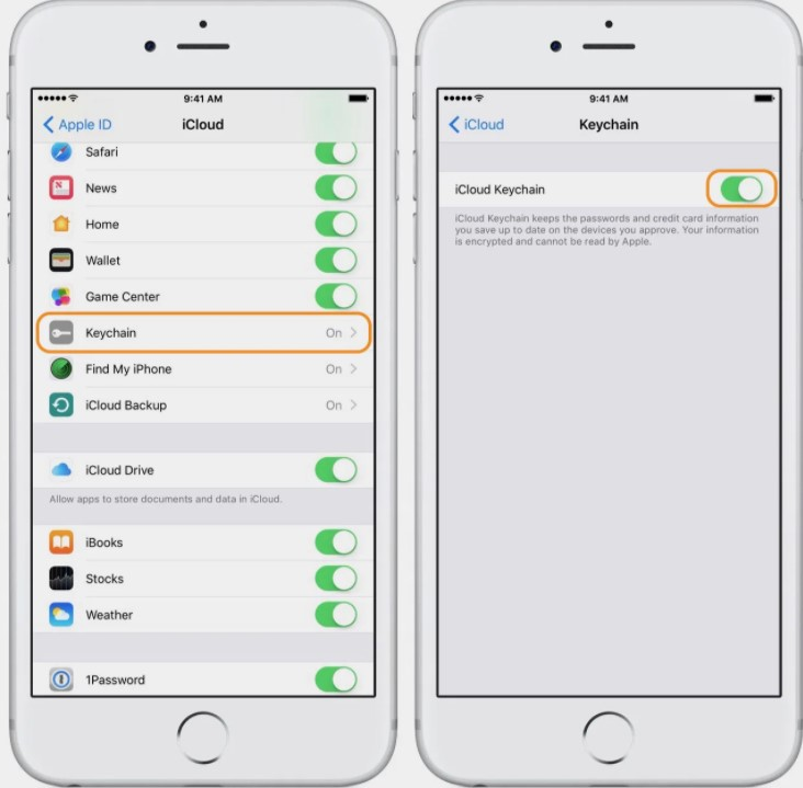 To turn on iCloud Keychain on your iPhone, iPad