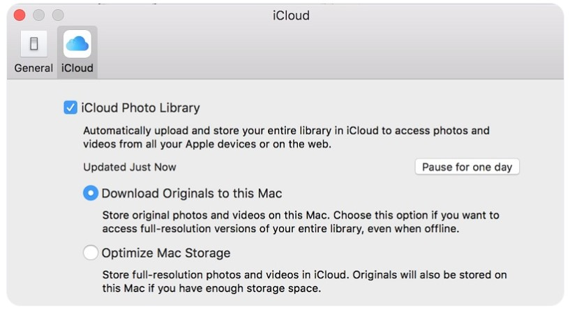 Turning off iCloud Photos Library on Mac