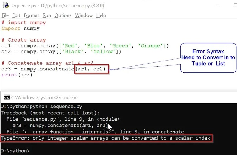 TypeError only integer scalar arrays can be converted to a scalar index issue