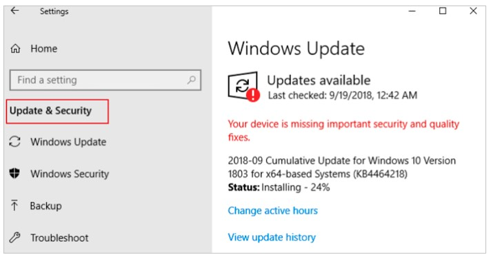 Update & Security Settings and then choose Windows Update