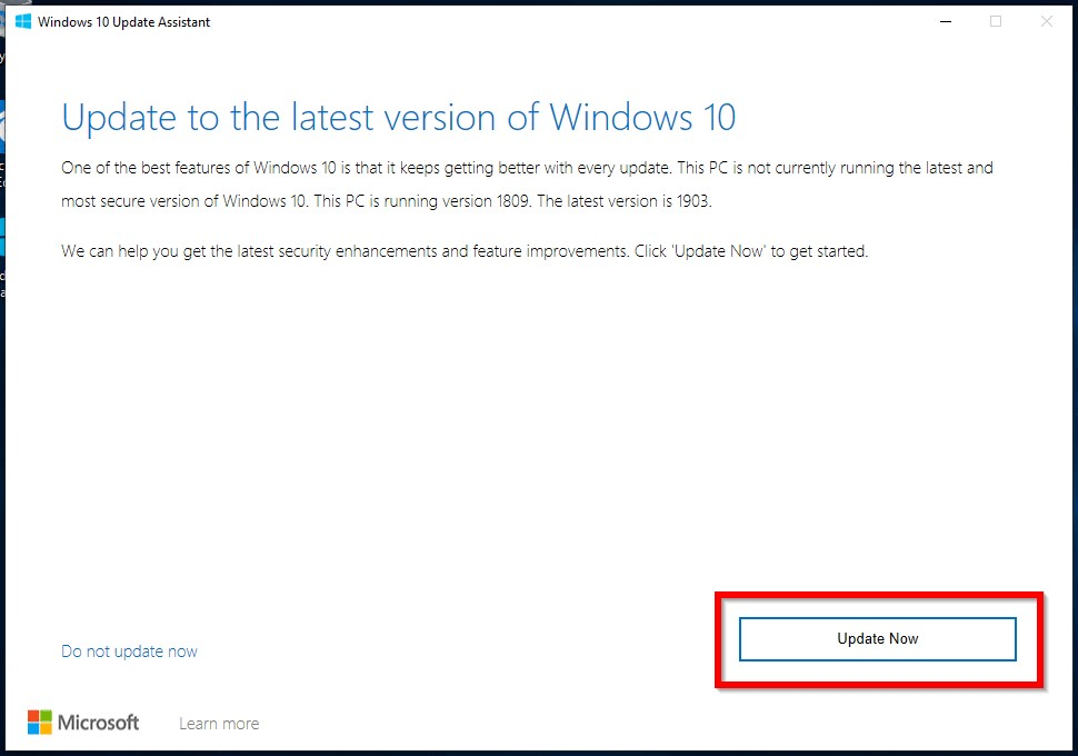 Update to latest version of Windows 10 page opens